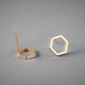 Jewelry - Rose Gold Hexagon Stud Earrings